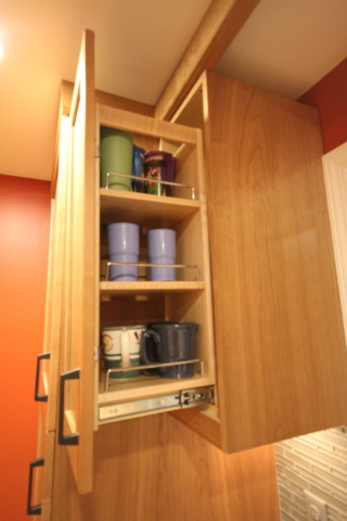 PULLOUT WALL PANTRY FOR GLASSES/CUPS