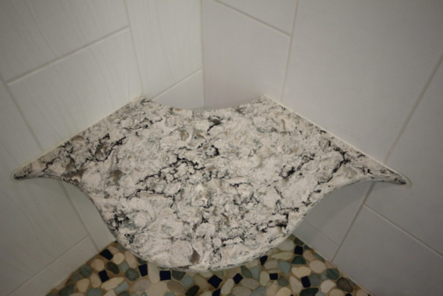 CUSTOM MASTER SHOWER SEAT: CAMBRIA QUARTZ PRAAS SAND