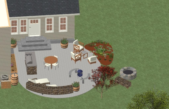 DESIGN STAGE OF PATIO FROM NORTH